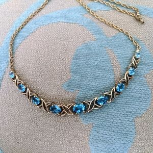 New blue topaz xo gold bonded necklace